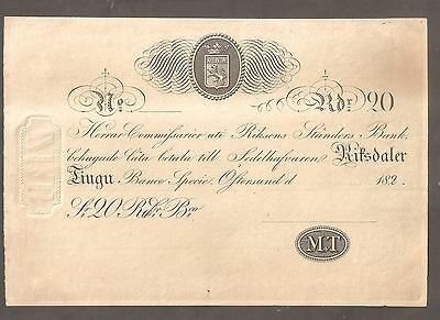 Sweden : 1820's issued 20 Riksdaler Banknote. Unbelievably scarce. UNC.