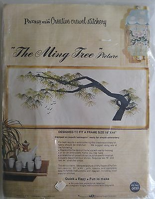 "Vintage 1970s Paragon Crewel Embroidery THE MING TREE PICTURE 2472 44""x18"""