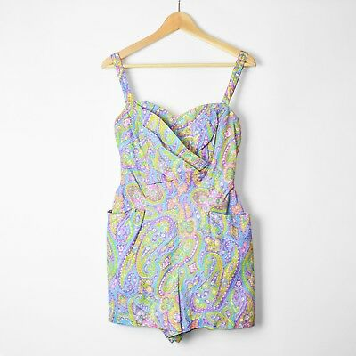 60s Swimsuit Playsuit Blue Purple Green UK10 Mod Psychedelic Hippy Boho Pin Up