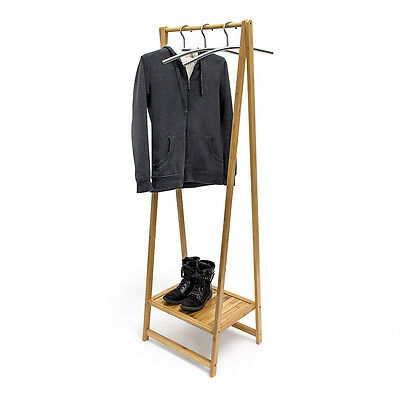 Bamboo Clothes Rail w/ Shoe Storage Space 158.5x51.5x40.5cm Wooden Coat Stand