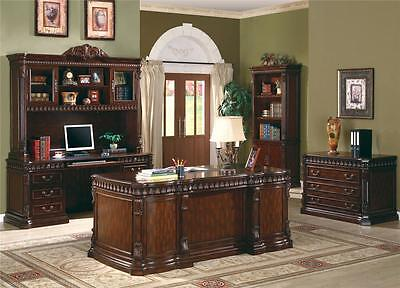 Union Hill Double Pedestal Desk with Leather Insert Top Home Office Furniture