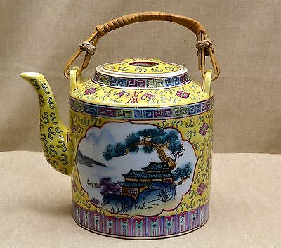 Vintage CHINESE FAMILLE JAUNE TEAPOT, Hand Painted Pagoda, Greek Key, bamboo