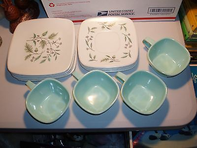 Vintage Melmac Harmony House Talk Of The Town 12 Pc Set Plates Cups Acorn Green