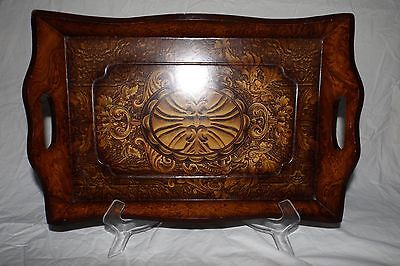 Wooden Serving Tray With Stunning Pattern And Handles 16'' Long