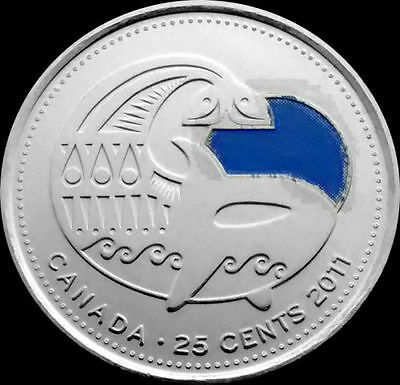 Canada   2011 Orca Whale  25-Cent   Quarter Blue BU From a Mint Set Roll