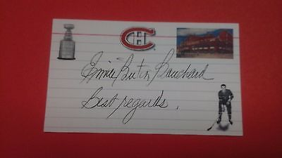 Emile Bouchard signed index card Montreal Canadiens