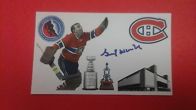 Gump Worsley signed index card Montreal Canadiens