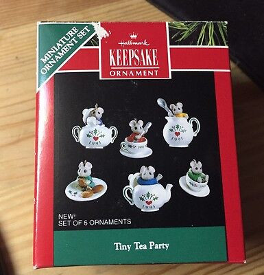 Hallmark 1991 Tiny Tea Party Set Of 6 Miniature Ornaments