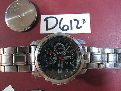 -  Vintage SEIKO Chronograph 7T92-0BF0 w Band Quartz Gents Parts Watch AS-IS
