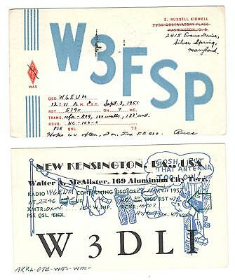 QSL QSO RADIO CARDS x 2 different W3FSP & W3DLI 1951 & 1957 SEE PICTURE