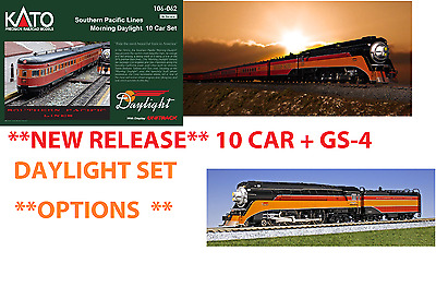 kato 126-307 + 106-062  S. P. *DAYLIGHT* GS-4 + 10 CAR  SET + OPTIONS ***NEW***