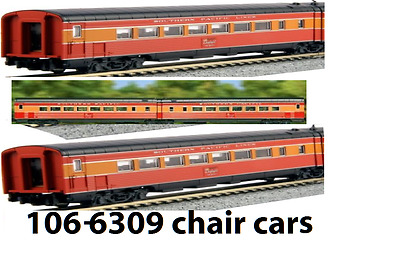 kato 106-6309 SOUTHERN PACIFIC  DAYLIGHT articulated chair car set, add-on
