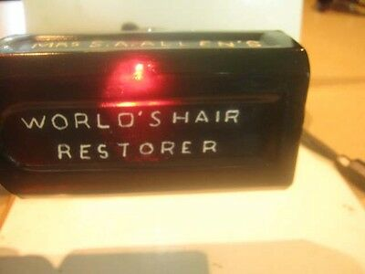 1860's BEAUTIFULLY GRAPE COLOR MRs S. A. ALLEN'S  WORLD HAIR RESTORER NEW YORK