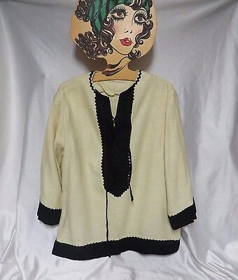 Vintage Top 50s 60s Blouse Lace Front Tunic Cotton Linen Rockabilly AS IS