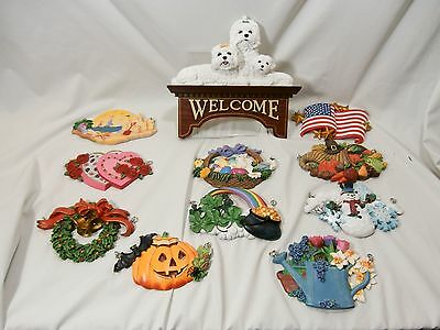 Danbury Mint Maltese Dog Welcome Sign with 10 Interchangeable Hanging Plaques