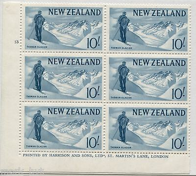 New Zealand NZ 1966 10/- Ice-blue Pictorial Plate Block MNH