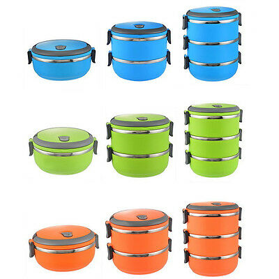 Stainless Thermo Insulated Thermal Food Container Bento Round Lunch Box 1-3Layer