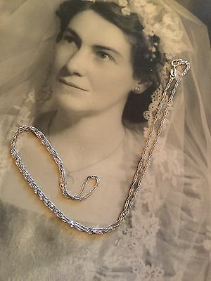 Nannas Vintage Solid 9Ct 375 Italy White Gold Chain 48Cm Beautiful