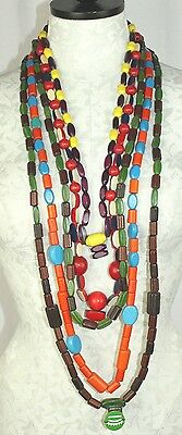 VTG Lot of 297 Camp Fire Girls Retro Wooden Multi-Colored Honor Beads 4 Strands