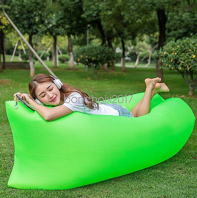 Inflatable Air Sofa Bed Lazy Sleeping Camping Bag Beach Hang out Couch Wind Bed