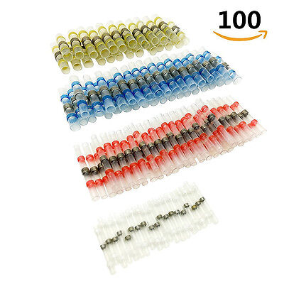 100pcs 26-10 AWG Solder Sleeve Heat Shrink Butt Wire Splice Connector Waterproof