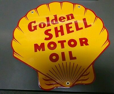 GOLDEN SHELL Oil / Gas Porcelain Advertising Sign....DIECUT SHAPE
