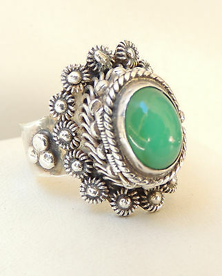 Taxco Mexico .925 Sterling Silver Chrysoprase Locket Poison Ring Jesus Signed