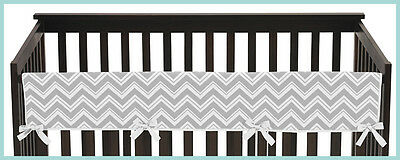 White Gray Zigzag Front Rail Guard Baby Boy Girl Teething Cover Crib Protector