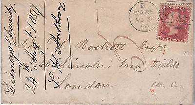 1859 QV WARE COVER WITH 1d RED STAMP TO DANIEL BOCKETT IN LINCOLNS INN LONDON 5d