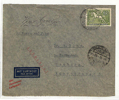 DD209 1936 URUGUAY AIRMAIL 62c *Pegasus* Cover Hamburg Germany {samwells-covers}