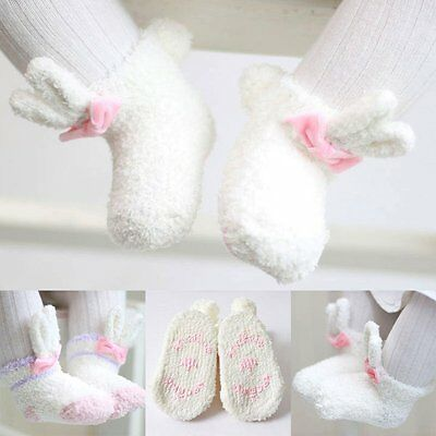 0-24M Newborn Baby Girl Cartoon Rabbit Ears Socks Coral Cashmere Anti-slip Socks
