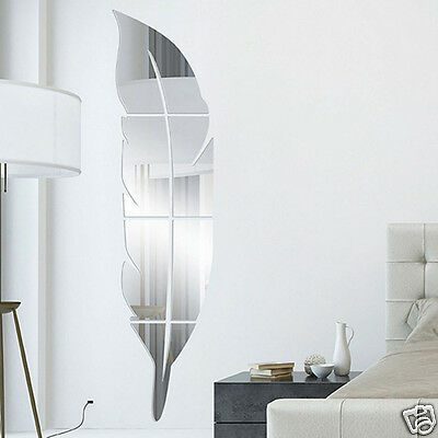 Stylish DIY Removable Feather Shape Mirror Wall Sticker Home Vinyl Art Decal