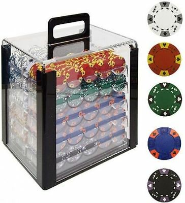 Trademark Poker 1000 14 Gram Tri-Color Ace/King Clay Poker Chips With Acrylic