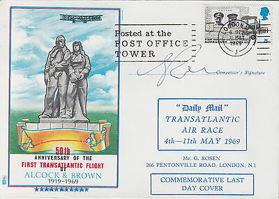 DAILY MAIL 1969 'Transatlantic Race' Cover Signed By Competitor G Rosen + PO Twr