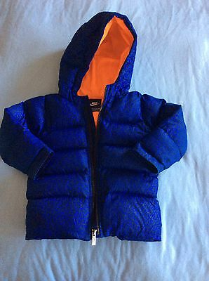 Nike Baby Boys Blue Hooded Puffa Style Jacket And 12-18 Months VGC