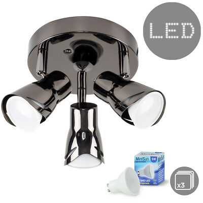 Contemporary Black Chrome 3 Way LED Ceiling Light + Cool White Spotlight Bulbs