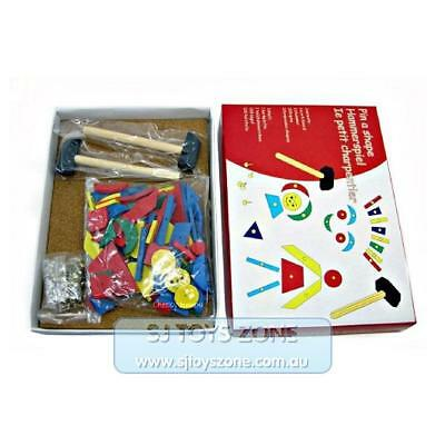 Kaper Kidz Wooden Tap A Shape with Hammer and Nails Educational Kids Playset
