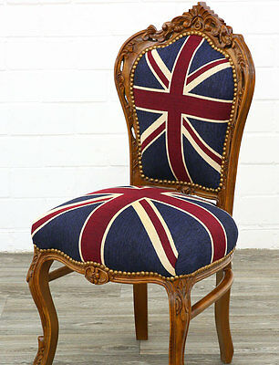 Barockstuhl Uk-Design Mahagoni Esszimmerstuhl Union-Jack Dining-Chair Sitzmöbel