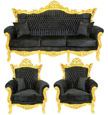 CLASSICAL BAROCK AMEUBLEMENT SOFA + 2 x SESSEL schwarz-gold LUXURY SEATING GROUP