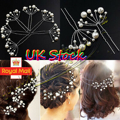 Bridal Wedding Hair Pins Rhinestone Pearl Diamante Flower Slide Clips Grips UK