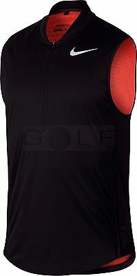 NEW!!  NIKE AeroLayer Zoned Wind Resistant Black Golf Vest - 833334 - Mens Small