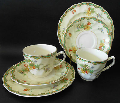 Set 2 X Johnson Bros Old Chelsea Ningpo Design Trios C1939 Made In England