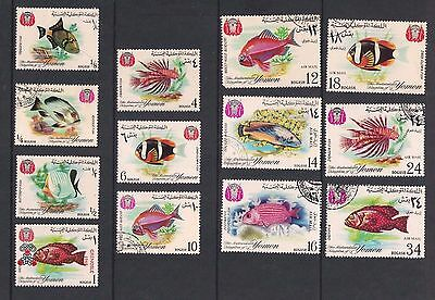Yemen used stamps featuring tropical fish, spacefillers