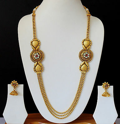 Indian Ethnic jewelry Antique Long Necklace Earrings Gold Plated Set SW55