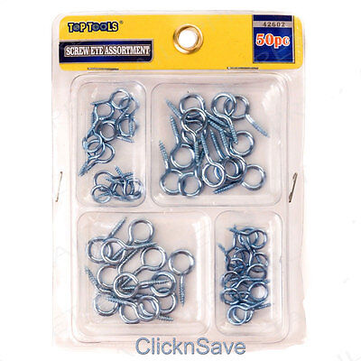 50Pc Screw In Eye Hook Assortment Steel Picture Frame Photo Mirror Hanging Kit