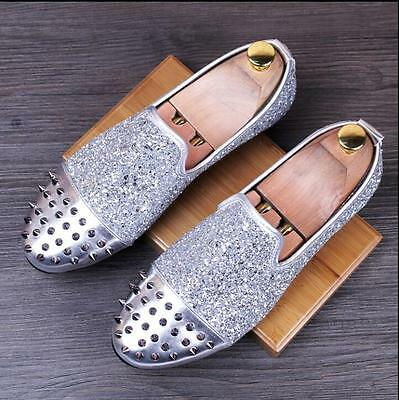 6c6bc4ed8ff Mens Round Toe Sequins Punk Spike Studded Loafers Slip On Nightclub Dress  Pumps