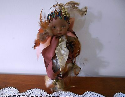 Vintage Hand Made Black Porcelain Doll In Papoose Made By Marilyn