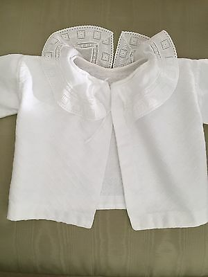 Antique Baby Top /vest Hand Embroidery White Cotton Long Sleeves