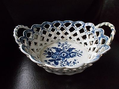 LOVELY EARLY WORCESTER T PIERCED BOWL BLUE & WHITE 18th CENTURY