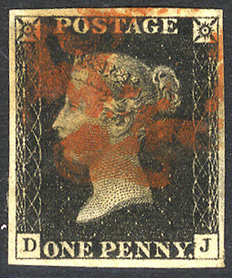 1840 Penny Black  - Plate 1b DJ with red Maltese Cross . . .